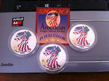 3 x 2000 AMERICAN EAGLE 1  OUNCE COLORIZED .999 FINE DOLLAR BU w/Case  Lot of 3