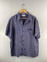 Chereskin Men's Vintage Short Sleeve Casual Silk Shirt Size XL Blue