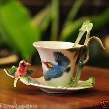 Singing Bird in Green Bamboos Tea Coffee Set Cup/Saucer/Spoon
