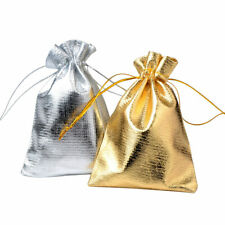 100pcs Jewelry Packing Silver Gold Foil Cloth Drawstring Velvet Bag Wedding Gift