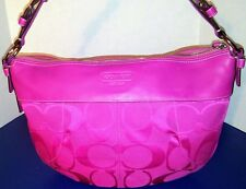 Gorgeous Rare NEW Coach Laura Hobo Bag Purse Pink Fuchsia Magenta Jacquard 14938