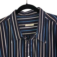 Burberry London Long Sleeve Shirt Men 4X Button Front Blue Striped Made In USA