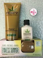 Hempz Original Herbal Body Wash 8.5oz Moisturizer 2.25 oz Travel Soap Trio Set