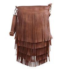Leather Fringe Shoulder Bag Crossbody Tassel Handbag Women's Purse