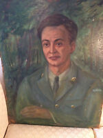 """Nice M Fainmel """"Portrait Of A Canadian Soldier"""" Oil Painting -Signed"""