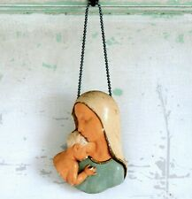 Vintage Mid Century Chalkware Mary & Jesus Religious Wall Plaque Bust Madonna