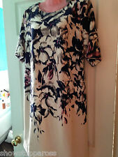 $138  Taylor Floral Print Dress Usa  Uk large  BNWT navy  blue cream pink NEW