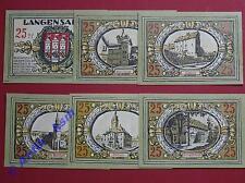 6 x Notgeld Langensalza , Stadtansichten 6 x 25 Pf. , emergency Money kfr/unc