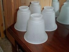 4 Frosted Glass Lamp Shades Ceiling Light Globes Ribbed With Beaded Top