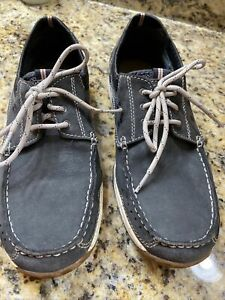 CLARKS Mens Boat Shoes Dark Gray Leather Casual Lace-Up Size 9.5