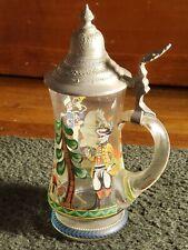 Vintage German Glass Beer Stein w/ Engraved Pewter Lid