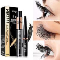 2PCS DDK 4D Silk Fiber Lash Mascara Eyelashes Long Extension Cosmetic Waterproof