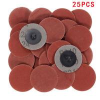 "25pcs 240 Grit 2"" Type R Roll On Lock Sanding Disc Abrasive Polishing"