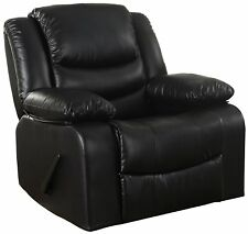 Bonded Leather Rocker Recliner Living Room Chair Reclining Sofa Chair (Black)