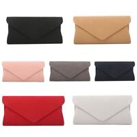 Plain Suede Wedding Ladies Party Prom Evening Envelope Clutch Hand Bag Purse