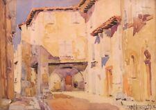 E. Bouillière.( 1900-1967). Rue de village. Aquarelle/ papier v179