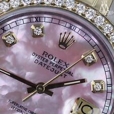 Rolex Stainless Steel & 18k 26mm Datejust Watch Pink MOP Diamond Dial