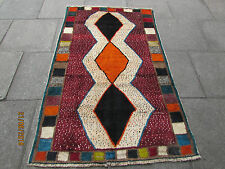 Old Traditional Hand Made Persian Oriental Gabbeh Rug Wool Red Orange 195x120cm