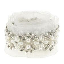 90cm Pearl Beaded Lace Trims White Sewing Crafts Applique Wedding Dress DIY