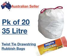 x20 Mighty Garbage Rubbish Kitchen Refuse Bag White Liner 35L Medium Drawstring