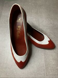 Vintage W G Bodiley  Ladies Red & White Leather Heeled Slip On Shoes Size 5 / 38