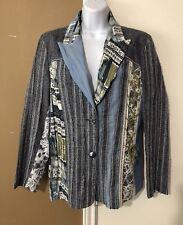 TRICOT CHIC Made in Italy Blue Patchwork Flax Silk Jacket Blazer Sz US 12 F 44