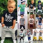 Toddler Kids Baby Boys T-shirt Tops Harem Pants Shorts Summer Outfit Clothes Set