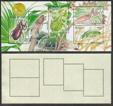 Insects of Malaysia 1998 Beetle Praying Mantis Grasshopper S/S Mint Mnh