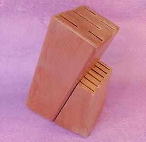 Farberware Knife Block Holder 11 Slots Natural Solid Wood No Knives Vintage