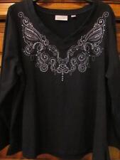 Avenue.. Soft Knit Top...Embellished...V-Neck...Black/Silver...Size 14/16