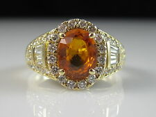 18K Orange Sapphire Diamond Ring Halo Yellow Gold Estate Fine Oval Size 7.5