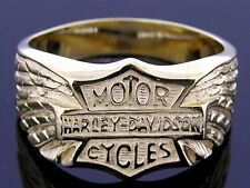 MR37 Heavy Genuine 9K Completely SOLID Yellow Gold MENS Biker Ring size 10
