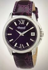 Ingersoll IN8006PU Women's Watch Purple Leather Band Analog Date Automatic