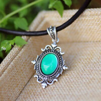 Fashion Real Silver Plated 12 Colors Change Mood Pendant Leather Chain Necklace