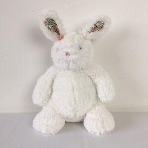 "Next White Bunny Rabbit My Best Friend Floral Ears Beanie Plush Soft Toy H 12"""