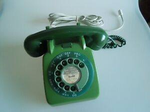 VINTAGE RETRO GREEN OLD 1963 GPO 706L TELEPHONE PHONE ROTARY DIAL CONVERTED