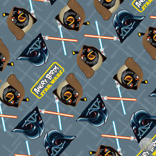 122000124 - Angry Birds Star Wars Duel Grey Fabric by the Yard Darth Vader Light