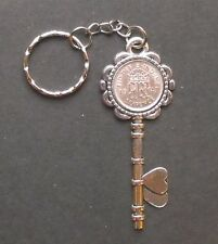 1947 70th birthday lucky Sixpence key Charm keyring Silver card gift box wedding