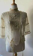Antique Victorian Ecru Cotton Bodice Top Lace Ruffles Embroidery Vintage