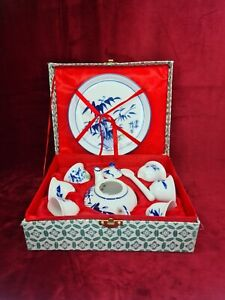 Chinese Blue And White Boxed Tea Set Of 8 Pieces