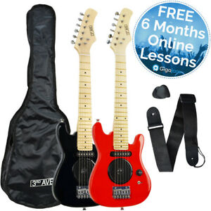 3rd Avenue 1/4 Size Children's Electric Guitar with Built-in Amp - Red or Black