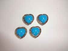 "Set of 4 Faux Turquoise Button Covers Hearts Silver Tone 1"" Country Western"