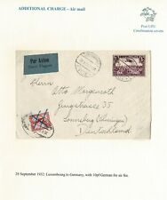 LUXEMBOURG GERMANY COMBINATION AIR COVER 1932 RAILWAY POST