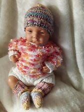 Mütze Socken Reborn Baby Puppe Kopfumpfang 36 cm Fußllänge 10 cm Handarbeit