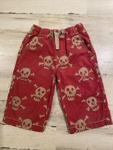 Mini Boden Boy's Sz 7 Skull Print Red Long Cotton Elastic Waist Shorts