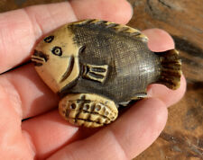 Antique Beautiful Japanese Signed Hand Carved NETSUKE Of A Flounder Fish.