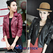 AU Women Slim Biker Motorcycle Synthetic Leather Zipper Jacket Coat Punk Outwear