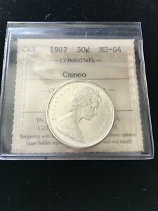 1967  ICCS Graded Canadian Silver ¢50 Cent, **MS-64 Cameo**