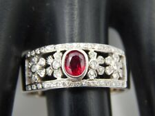 Bezel Set Burma Ruby Top Quality Diamond Ring .55 tcw E/SI 14k WG Unique