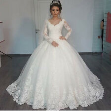 New Lace White/Ivory Wedding Dress Long Sleeve A-line Bridal Gown Custom Size
